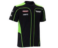 Wholesale 2016 Summer Kawasaki Motocross T Shirt automobile race ride short sleeve T shirt Motorbike Racing T Shirts made of Cotton black green color
