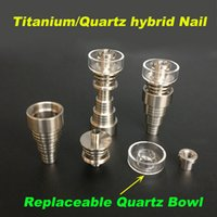 Wholesale 2016 The latest Titanium nails Quartz hybrid Nail mm in titanium nail replaceable quartz bowl for oil rigs bongs