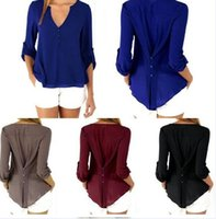 Wholesale Deep V Neck Casual Chiffon Blouses Long Sleeves Gray Blusas Loose Casual Club Party Women Shirts Tops KL075