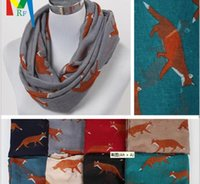 animal headband patterns - INS New Pattern Fox Scarf Female Scarf Animal Print Voile Long scarf