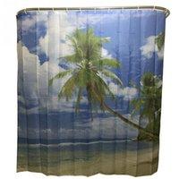 bath shower curtain beach - 2016 New Fashion Blue Sky Beach Palm Tree Bathroom Shower Curtain Waterproof Polyester Bath Curtain x180cm