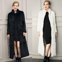 Wholesale New Winter Warm Women Faux Rabbit Fur Coats Outwear Lady Imitation Fur Coats Jackets European Long Style with Belt