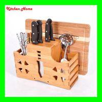 bamboo boards - Mulitfunctional Bamboo Kitchen Utensils Tools Holder Stainless Steel Ceramic Knives Holder Knife Block Cutting Board Holder