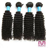 Grandes Promostions! Tissu brésilien de cheveux humains de cheveux 4pcs / lot 12-30inch 100% cheveux naturels Weave nature 1B Kinky bouclés MOSTO cheveux extensions