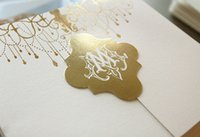 arabic wedding cards - 2016 hotstamping Luxury wedding invitation card Gold foil wedding invitation gatefold invitation card luxury arabic invitation