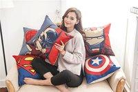 Wholesale Mixed colors Superhero Avengers cushion case Marvels pillow case superman batman Printed Cushion Cover linen Pillow Cover Cartoon Home Texti