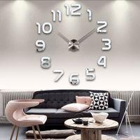 Wholesale new clock watch wall clocks horloge d diy acrylic mirror Stickers Home Decoration Living Room Quartz Needle
