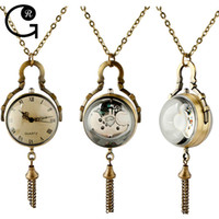 Wholesale GR New Vine Steampunk Style Ball Bronze Retro Pocket Watch Necklace Gift For Friend