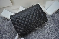 Wholesale women s Classcial double flap bag CM Maxi Quilted Chain Caviar Leather Bag