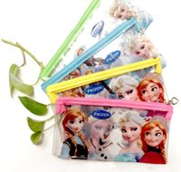 Wholesale Brand New Frozen Anna and Elsa kids cartoon school pencils cases stationery bags mixed colors