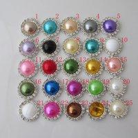 Wholesale Flat Back Crystal Pearl Buttons Metal Rhinestone Crystal Diamonds buckle DIY Jewelry accessories