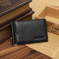 Wholesale 2016 new men s leather wallet ultra thin multi function clip creative dollar purse money clip package