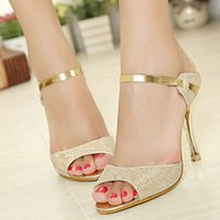Wholesale Women pumps fashion women Sandals Gold white Ankle Wrap Beautiful Ladies Summer Shoes Peep Toe Heels X0241