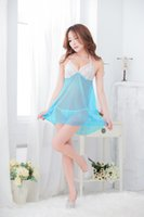 Wholesale Sexy Netted Lingerie - Free shipping New Halter extreme temptation lingerie Lace transparent net yarn ladies nightgown sexy pajamas