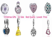 Wholesale Fashion Silver Mix Pandora European Charms Pendant Loose Beads Crystal Rhinestone for Snake safety chain Fit DIY Charm Bracelet Jewelry