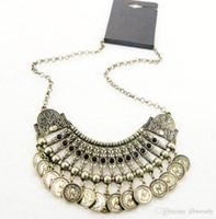 Colliers bib Prix-Bohemian Vintage Bronze Noir Perle long Coin Fringe Collier plastron turc ethnique tribal Bijoux festival