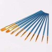 Wholesale 10 New Nylon Wooden Handle Paint Brush Set for Kids Watercolor Gouache Drawing Painting Art Supplies