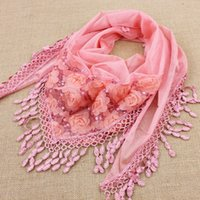 Wholesale 1pcs spring and autumn women s embroidered trigonometric cape scarf bib tassel silk scarf