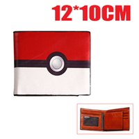 ball purse - Poke mon go Poke Ball Bi fold Men and women Short Wallet ID Card Holder Purse Collection New Hot sale