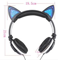 Wholesale 2016 Cute Cat Ear Folding Headset LED Light Glowing Intensely Flashing Earphone Headset for PC Mobile Phone MP3 Computer