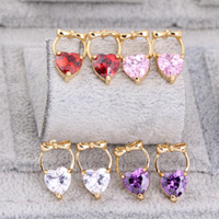 Wholesale 18K Yellow Gold Plated Bowknot AAA Cubic Zirconia CZ Heart Stud Earrings Fashion Jewelry for Women Girls