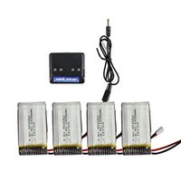 Wholesale 4pcs V mAh Lipo Battery and in charger for Syma X5C X5SW X5SC RC Quadcopter