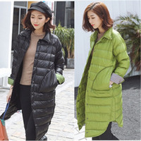 Wholesale Womens Casual Lapel loose Down jackets thick cotton long coats outerwear winter clothes new style