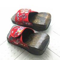 Wholesale 2016 Summer Style Flip Flops Lady Wood Sandals Floral Wedge Heel Slippers Shoes Japanese Geta Clogs One Size TX0348 salebags