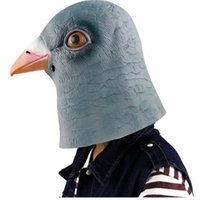 adult funny full costumes - Halloween Mask Masquerade for Adult FashionGrey Pigeon Head Mask Funny Latex Full Head Animal Masquerade Carnival Party Mask Cosplay Costume