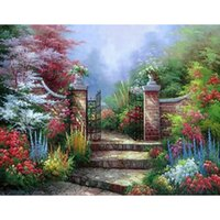 antique gates - 3d Diy Diamond Painting home decor full Rhinestones embroidery Handicraft cafe wall poster villa gate X35CM HWI
