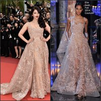 aishwarya rai - 2016 Aishwarya Rai Inspired Formal Evening Dresses by Elie Saab with Square Neck Embroidery Tulle Beige Red Carpet Gowns with Sweep Train