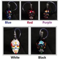 Bon Marché Tubes narguilé-Crâne coloré Tubes de verre en alliage de verre narguilés Bong zinc avec un tuyau en cuir Pipes Mini Portable Fumeurs Accessoires VS Lipstick Pipe