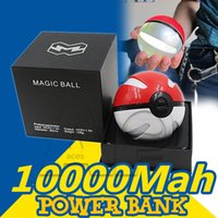 ball travel - Poke Powerbank mAh For Poke AR Game Travel Power Bank With Poke Ball LED Light Portable Charge Figure Toys For Iphoone Samsung