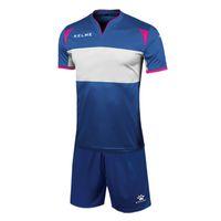 Wholesale Kelme K15Z235 Men La Liga Short Sleeve Quick drying Breathable Wicking Team Training Football Custom Suit Blue White