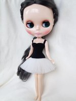 Wholesale D0381 New DIY inch cm Blythe Doll dress Accessories children gift Ballet dress black white color short type