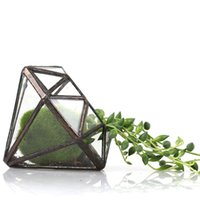 artistic desktop - Modern Artistic Clear Glass Geometric Terrarium Succulent Fern Moss Microscape Eight surfaces Diamond Glass Bonsai Flower Pot