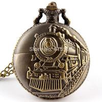 antique engines - New Arrive Bronze Train Front Locomotive Engine Necklace Pendant Quartz Pocket Watch