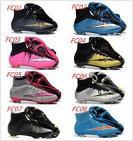 Wholesale 2016 Latest Men Soccer Shoes Mercurial Superfly V FG Football boots Cleats Laser Football Sneakers Size