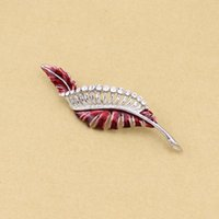 Wholesale 2pcs High Quality Decorative Rhinestone Garment Accessories leaf Brooch Pin