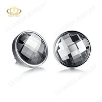 australian studs - 14mm High polished L Titanium steel round checkerboard cut Australian crystal stud earring