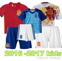 Wholesale 2016 Spain kids Jersey Espana ninos Camiseta de Futbol eurocopa FABREGAS ISCO DIEGO COSTA MORATA Youth Football Uniforms