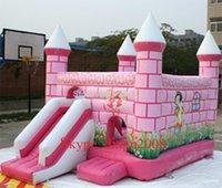 Wholesale pink PVC inflatable castle bounce house inflatable jumping house bouncer for amusement park