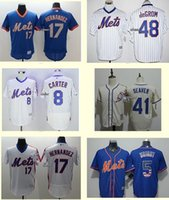 Wholesale Men s New York Mets Hernandez DeGrom Carter Tom Seaver Wright white Beige Blue Baseball Jerseys