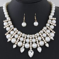 Wholesale Gifts Summer Palace Fine Jewelry Sets Crystal Rhinestone Pearl Bead Ball Collar Chain Chokers Necklaces Water Drop Dangle Earrings For Women