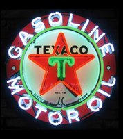 Wholesale Texaco Oil Neon Sign Neon SignS Commercial Custom BOARD Neon Sign Glass Tube Handicraft gas SHOP Display VD X24 Present