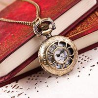 Wholesale Paradise Hot New Hot Hot Fashion Retro Bronze Quartz Pocket Watch Pendant Chain Necklace May20