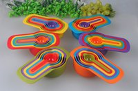 Wholesale Plastic Rainbow Color Kitchen Measuring Cup Set Tables Spoon Set Kitchen Baking Measurement Tools With Scale For Baking jy824