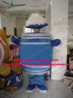 beer barrel sizes - Dramatic Blue Beer Bucket Barrel Pail Drum Cask Mascot Costume Cartoon Character Mascotte White Brushy Cap Short Arms ZZ674 FS