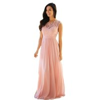 Wholesale Cheap Coral pink Long Chiffon Prom Dresses O Neckline Lace Bodice Zipper Back Women Homecoming Party Dress Gowns