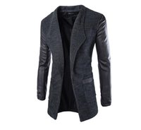 Wholesale PUNKOOL Spring Winter Woolen Mens Trench Coat Leather Sleeves Open Stitch Slim Fit Brand Jacket Overcoat Male